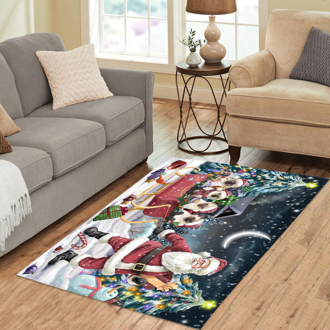 Personalized Christmas Santa Sled Siamese Cats Living Room Area Rugs Mats - $69.99