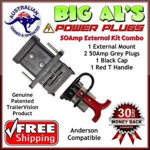 50Amp Anderson FLUSH Mount Bracket Cover Kit + 2 Grey Plug 1 Dust Cap 1 T Handle