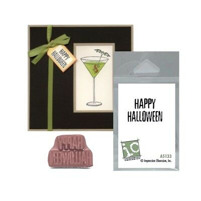 Happy Halloween Words Rubber Stamp Impression Obsession Stamps A5133 - A Halloween Words
