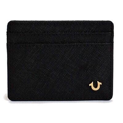 True Religion Men's Saffiano Leather Card Case Wallet in Bla