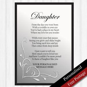 Daughter Gift. Personalised Birthday Gift for Daughter. Keepsake Poem PRINT ONLY