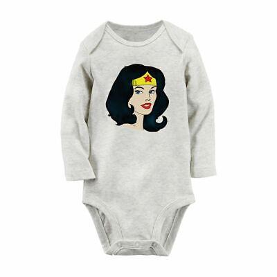 Wonder Woman Head portrait Newborn Long Sleeve Romper Baby Jumpsuit - Wonder Woman Jumpsuit