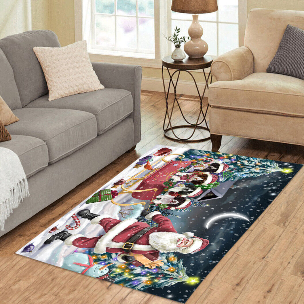 Personalized Christmas Santa Sled Springer Spaniel Dog Area Rugs Mats - $69.99