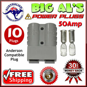 10-X-50Amp-DC-Power-Connector-Anderson-Style-Plug-12v-24v-Fridge-Charger-Battery
