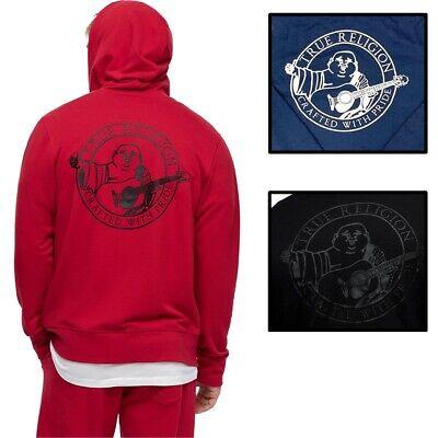 True Religion Men's Buddha Back Logo Full Zip-Up Hoodie Sweatshirt Back Zip Sweatshirt