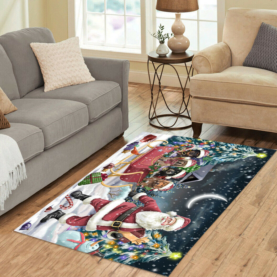 Personalized Christmas Santa Sled Tibetan Mastiff Dog Living Room Area Rugs Mats - $69.99