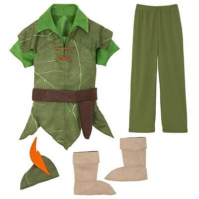 NWT Disney Store Peter Pan Boys Costume Jacket Pants Boot Cover 3,4,5/6,7/8,9/10
