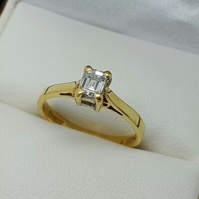 18ct Yellow Gold Emerald Cut Diamond Solitaire Engagement Ring, Finger Size H
