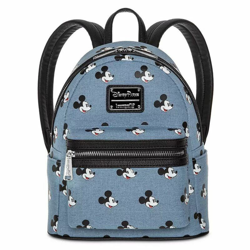 Disney Loungefly Mickey Mouse Denim Mini Backpack