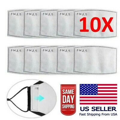 10 Pack Adult PM2.5 Activated Carbon 5 Layer Face Mask Replacement Filters Accessories