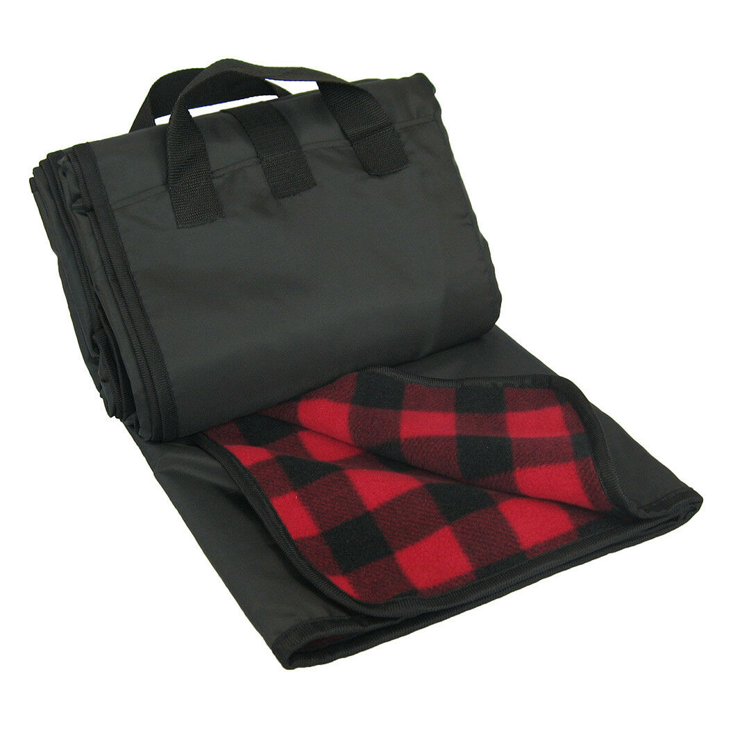 lined picnic blanket handles waterproof deluxe fleece