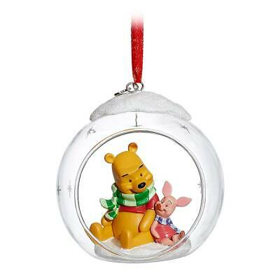 New Disney Store Winnie the Pooh and Piglet Glass Globe Sketchbook Ornament  Winnie The Pooh Ball