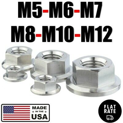 M5 M6 M7 M8 M10 M12 Titanium Hex Flange Nut With Or Wout Nylon Self-lock Insert