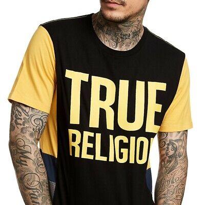 True Religion Men's Logo Graphic Side Panel Tee T-Shirt in Black/Yellow/Blue Side Logo Tee