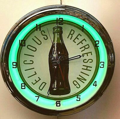 "16"" Drink Coca-Cola Delicious and Refreshing Bottle Coke Sign Green Neon Clock"
