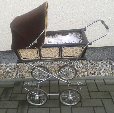 original Nostalgie DDR Puppenwagen braun klappbar sauber, sehr gepflegt