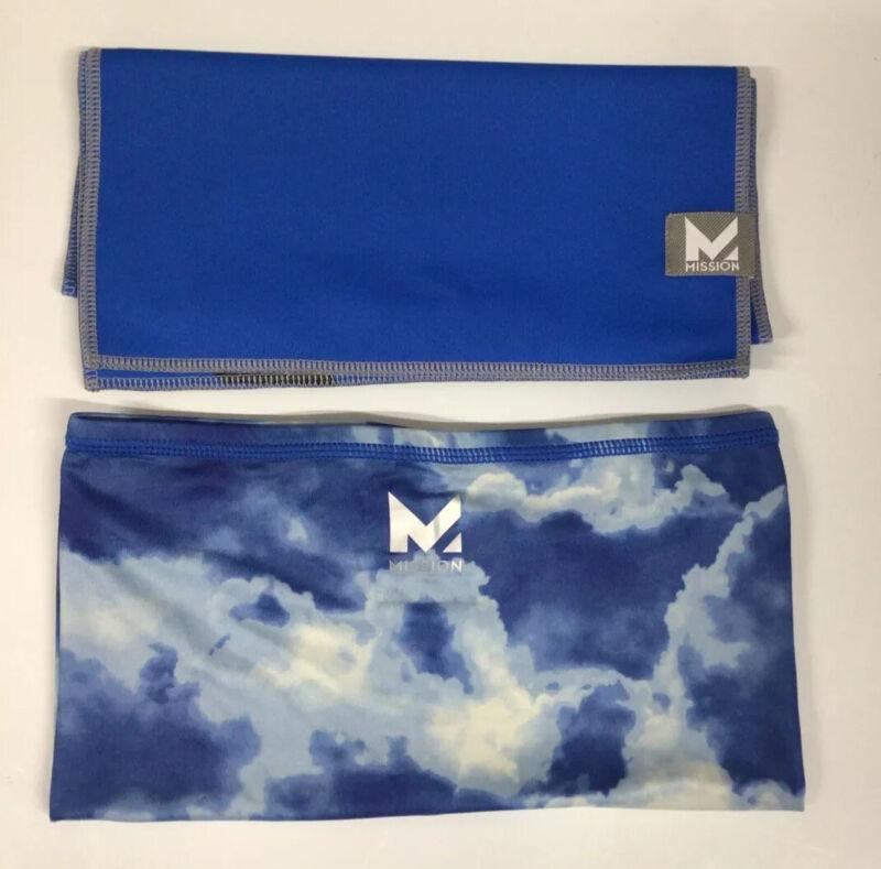 "NEW MISSION MAX PLUS COOLING TOWEL 9.5""x36"" & STYLISH COOLING GAITER-BLUE CLOUD"