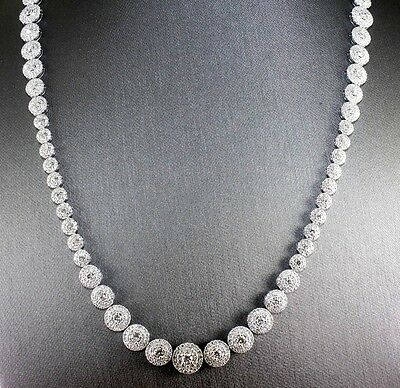 Round Graduated Diamond Lady's Tennis Fashion Necklace 14K White Gold 19.86Ct