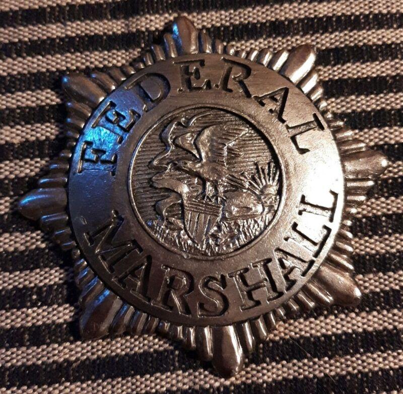 Vintage Remake Metal Silver Badge Federal Marshal
