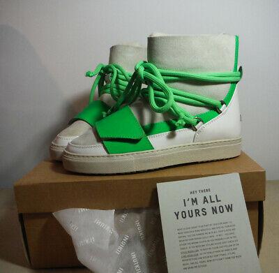 women's INUIKII Sneaker Flash White And Green Boot Retail $300