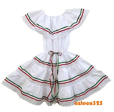 Girls Mexican 3 Ribbons Dress - Green, White, Red - Green Girl Dresses