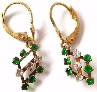 14K Solid Gold Art Nouveau/Deco Pierced Dangle Earrings Hoop~Gemstone~Antique~