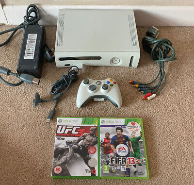 Xbox 360 Console White - 2 Games - Good Used Condition - PAL