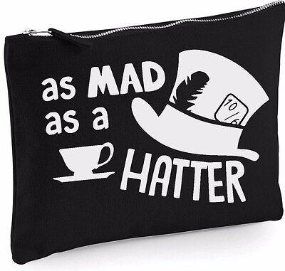 Alice in Wonderland mad hatter Makeup Bag Case Canvas Zip Make Up Gift - Alice In Wonderland Mad Hatter Makeup