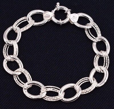 Oval Rolo Diamond Cut Link Bracelet Polished Shiny Real 925 Sterling Silver  Diamond Rolo Link Bracelet