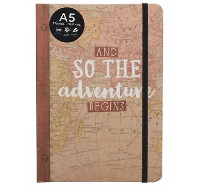 WHSmith And So The Adventure Begins A5 Travel Journal With Black Elastic Closure