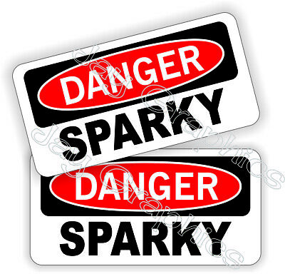 Funny Danger - Sparky 1x2 Hard Hat Stickers Helmet Decals Welder Electrician