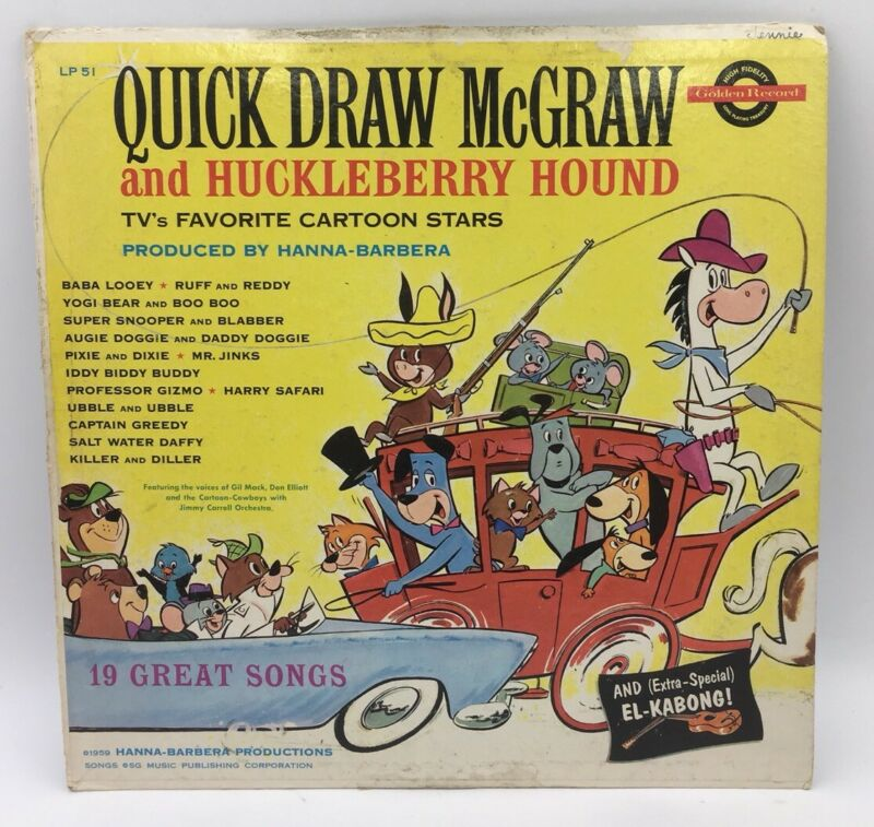 Quick Draw McGraw and Huckleberry Hound 1959 Golden Records LP
