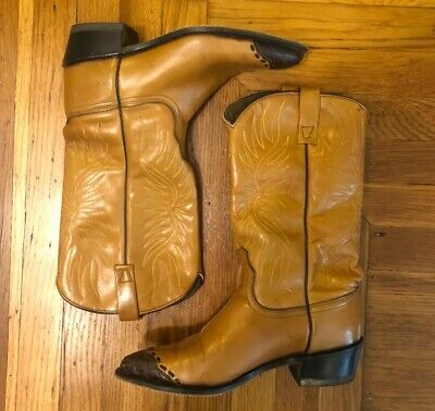WOMENS VINTAGE ACME COWBOY BOOTS SIZE 7.5 BROWN LEATHER #37040