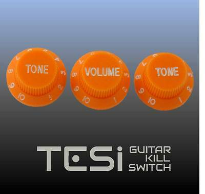 Tesi Stratocaster Knob Set - Orange, White Ink