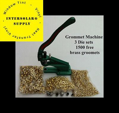 Grommet Machine 3 Die 0 2 4 1500 Grommets Brass Eyelet Banner Hand Press
