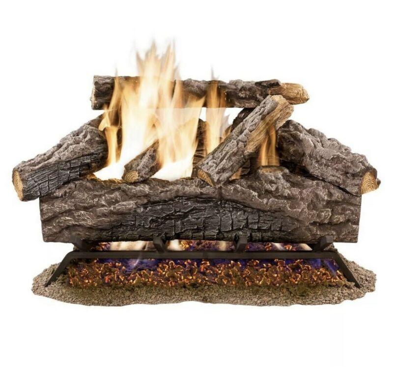 "Emberglow 24"" Natural Gas Log Set Vented Charred River Oak, Open Box (H1)"