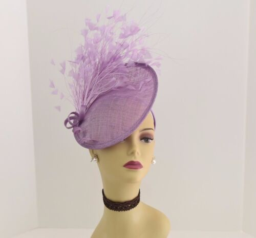Kentucky Derby Wedding Tea Party Sinamay feather Fascinator Cocktail 617(Lilac )