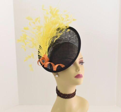 Kentucky Derby Wedding Sinamay feather Fascinator 617 (Black/Yellow/Orange)