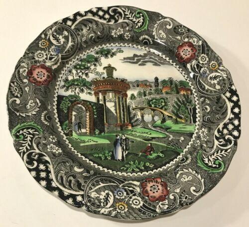 "Antique 10"" W.R. Midwinter Made England Landscape Black ~Decorative Dinner Plate"