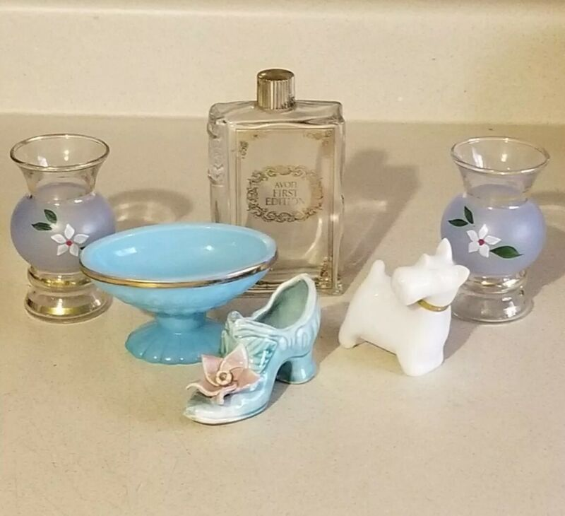 Miniature Glass LOT 6PC Blue Dish Shoe Scotty Dog Bud Vase AVON Bottle Vintage