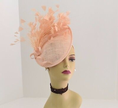 Kentucky Derby Wedding Tea Party Sinamay feather Fascinator Cocktail 617(Peach)