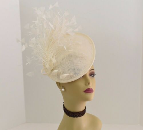 Kentucky Derby Wedding Tea Party Sinamay feather Fascinator Cocktail 617(Ivory)