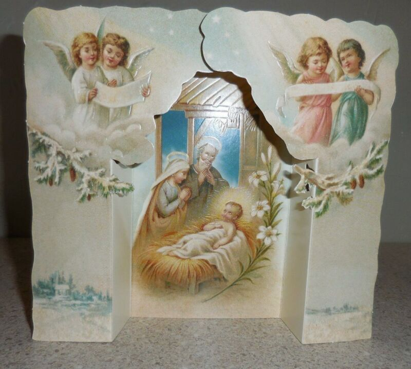 VINTAGE STYLE CHRISTMAS CARD FOLD OUT NATIVITY WITH ENVELOPE