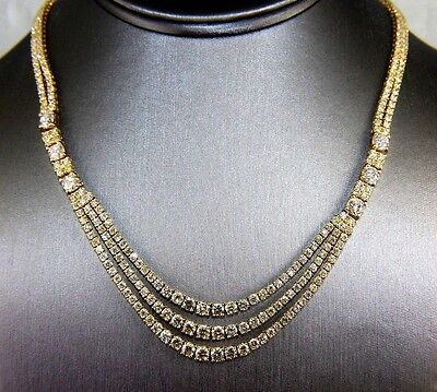 3 Layer Diamond Cluster Dangle Fashion Tennis Necklace 18K Yellow Gold 21.90Ct