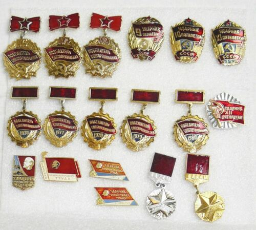 Lot 18 Award Winner Socialist Competition and Labor Medals USSR Life Style