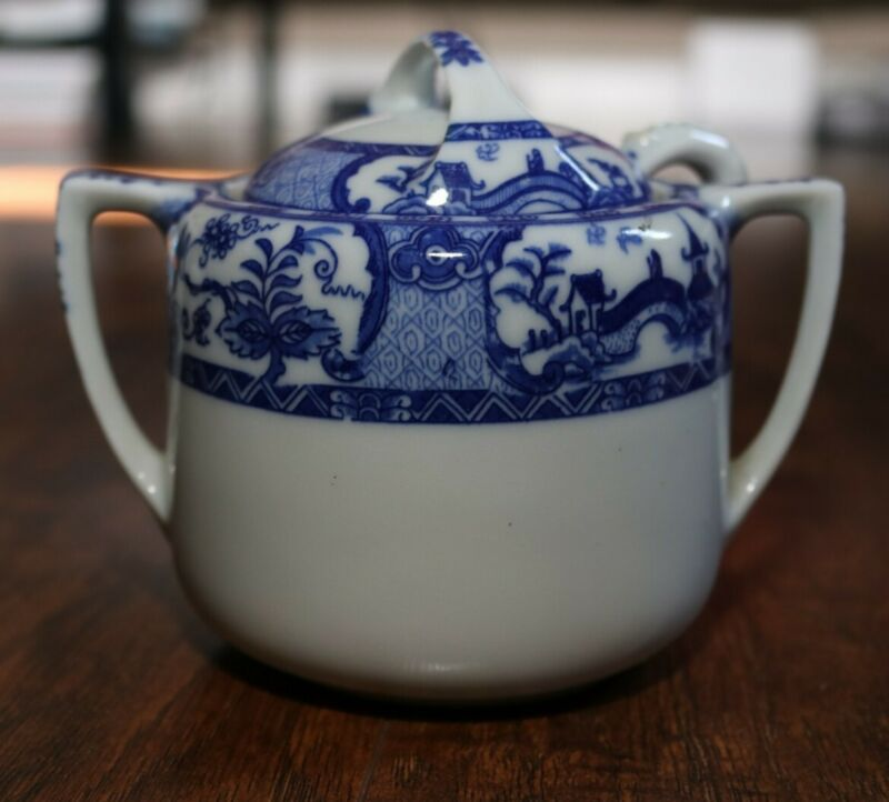 Vintage ceramic Blue and White Sugar Bowl Japan with lid and spoon