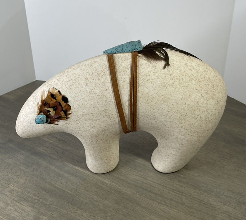 """Native American Southwest Bear Fetish Ceramic Turquoise Stone Feathers 11"""" x 8"""""""