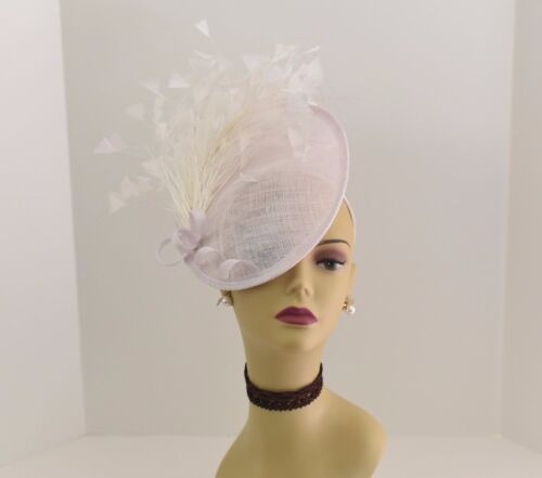 Kentucky Derby Wedding Sinamay feather Fascinator Cocktail 617(Off-White)