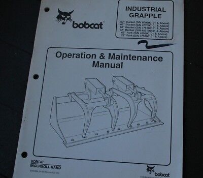 Bobcat 60 66 68 72 In Grapple Bucket Owner Operator Operation Maintenance Manual