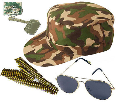 UNISEX AVIATOR GLASSES ARMY CAP DOG TAGS BULLET BELT CAMOUFLAGE LOT ACCESSORIES